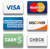 payment types: we accept Visa, MasterCard, American Express, Discover, cash, or check